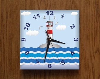 Lighhouse clock. Nautical Sea Ocean  Modern wall clock Blue White Darkblue Gray plastic wall clock,  gift for girl or boy, nurcery decor,