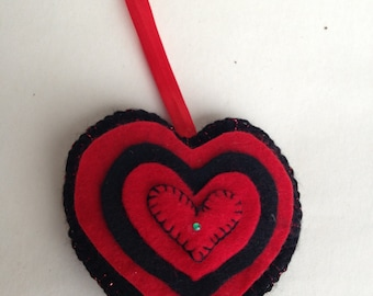 Red and Black Felt Hanaging Heart