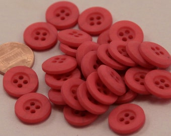 """Lot of 24 Matte Red Plastic Buttons 5/8"""" 15.5mm  # 6593"""