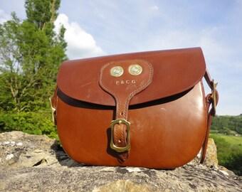 Handmade English Leather Cartridge Bag