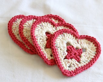 Popular items for red crochet coasters on Etsy