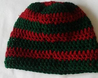 Handmade crochet striped red and green beanie