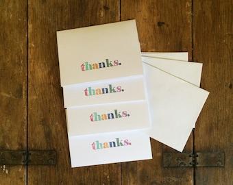 """Handstamped, multi-color """"Thanks"""" cards (Set of 4)"""