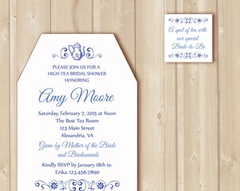 Bridal Tea invitation. High Tea traditional tea bag invitation printable. DIY Briday Tea invitation.