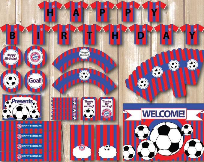 Soccer Party Package. Instant download. Printable. Matching Custom invitation available. Bayern Munich soccer inspired printables.