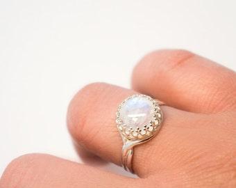 Rainbow Moonstone Sterling Silver Adjustable Ring