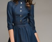 Jeans Mini Dress Folds,Flirty Street Fashion Dress Casual