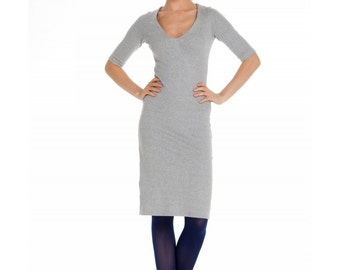 Sale!-Simple Grey pencil Dress ,Jersey Fitted V neckline Dress Day.