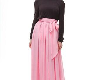 Pink Maxi Skirt Chiffon, Floor Length With Bow Skirt Summer.