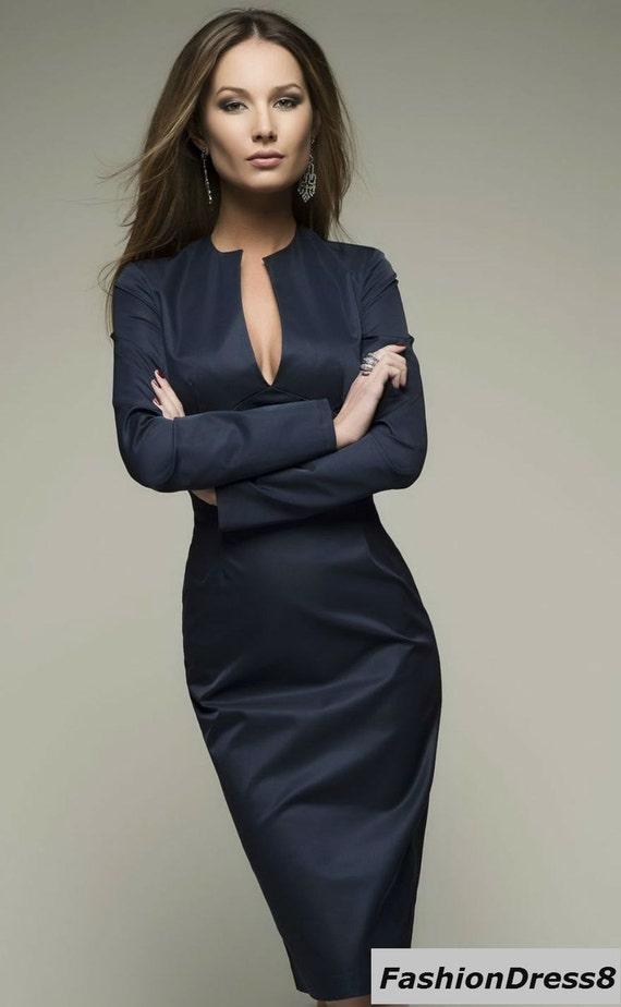 dark blue dress pencillength knee casual sexy dress woman. Black Bedroom Furniture Sets. Home Design Ideas