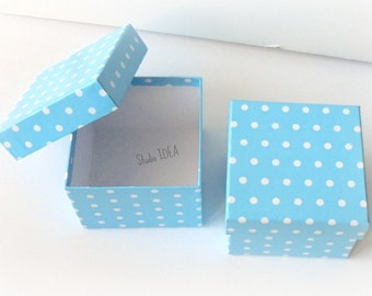 Set of 6 Blue White Polka Dots Boxes with Lid-Gift Box, Favor Box, Candy Box- Set of 6