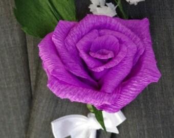 5 Purple Rose Boutonniere ready to ship, Paper Flower Boutonniere, Weddings Men, Handmade Groomsmen Wedding Boutonniere, Men's Boutonniere