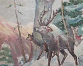 1965 Bulgarian oil painting landscape forest animals signed
