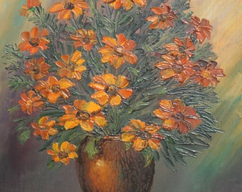 1997 Bulgarian flowers still life oil painting signed