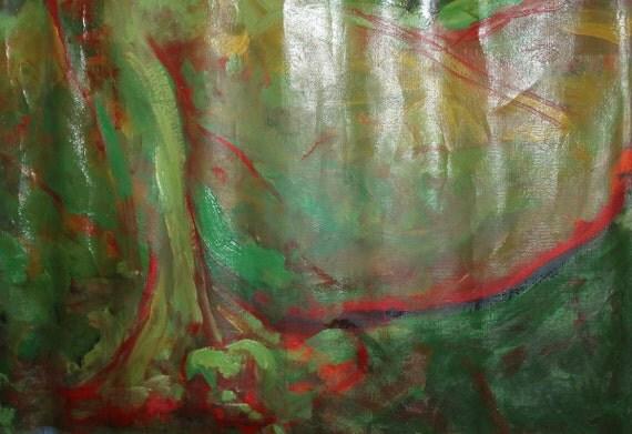 Vintage European oil painting expressionist nude