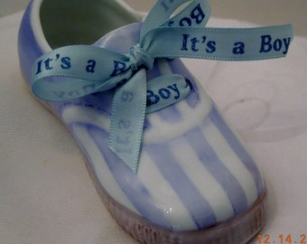 Baby Shoe- Boy Tennis shoe with Blue satin Ribbon- porcelain hand painted
