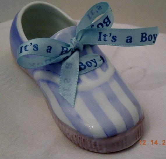 Baby Shoe Boy Tennis shoe with Blue satin Ribbon porcelain