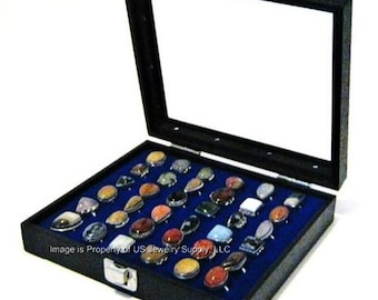 Key Lock Locking Glass Top Lid Blue 36 Ring Display Portable Sales Storage Case
