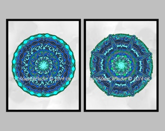 Turquoise Medallion Wall Art - download prints