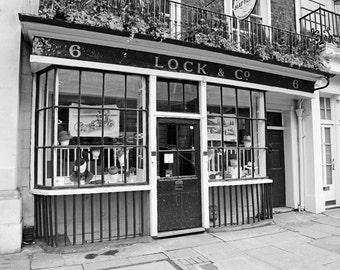 London Hat Shop, London Photography, Black and White, Bedroom Decor, Bath Decor, Travel Photo, Fine Art Print, green, beige, cream