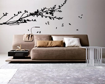 Large Branches Wind Leaves Wall Art Decal Mural Sticker Bedroom Living Lounge Kitchen