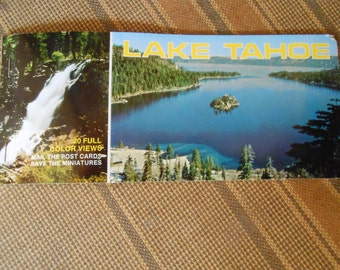 Vintage Lake Tahoe Post Card Souvenir Booklet with 10 Large/9 Small Cards for Scrapbooking, Collage, Card, or For Your Personal Collection