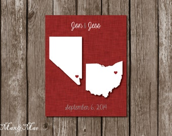8x10 Personalized Wedding Gift, Map, Wedding Date Poster, Christmas Gift, Digital File, Printable