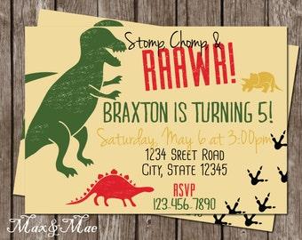 Dinosaur Invitation, Dinosaur Birthday Party Invitation, Dinosaur Birthday, Stomp, Chomp, Roar Invitation, T-Rex Invitation, Digital