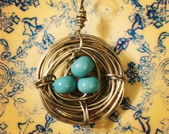 Tiny Bluebird Nest Wire Wrapped pendant with lampwork beads