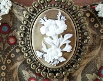 Brown and White Floral Cameo Brooch Resin Cameo