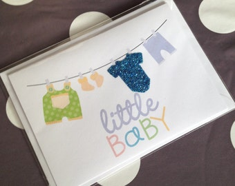 Gorgeous Glitter Little Baby Announcement Card for a Boy