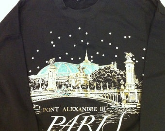 Vtg Flashy Black Teal Gold Paris France Sweatshirt Women's Size Med Never Worn Pont Alexandre II