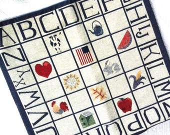 "Primitive Pillow Slip Cover Americana Alphabet Check Primer Navy Multicolor Tapestry 16"" Square"