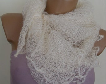 White feather scarf rectangular many fine alpaca wool SALE 50%