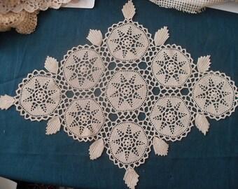 Crocheted diamond tablecloth- 100% cotton.