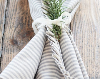 Elegant striped cotton ruffled table runner, a special dress for your table.