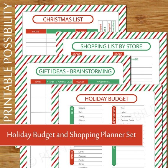 christmas shopping and budget planner holiday budget sheet