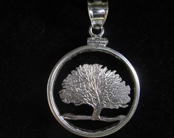Connecticut Quarter Cut Coin Necklace Pendant Tree Charter Oak
