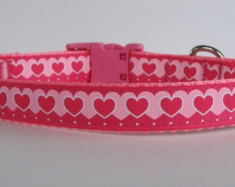 Small Valentine's Day Pink Stacked Hearts Dog Collar - READY TO SHIP!