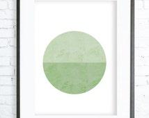 Blue circle, Geometric Print Art , Geometric Print, Instant download printable,Green Printable, Green Print, Green wall art