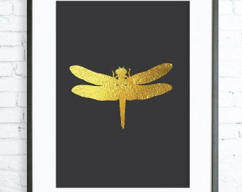 Gold Art, Gold Decor, Instant Download, Gold Dragonfly Print,  Print Art,  modern art, digital art, Print, Dragonfly art, Dragonfly  print
