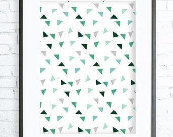 Green Triangles Pattern, Modern Art Prints, Home Decor, Bedroom Art, Dining Room Art, Green Wall Art