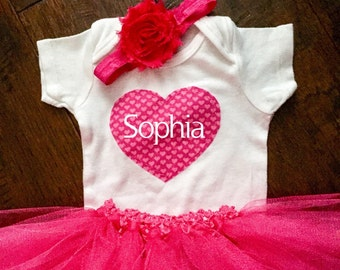 Valentines Tutu & Onesie Set | Heart | Baby Outfit