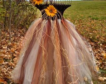 beautiful scarecrow tutu dress with matching headband!