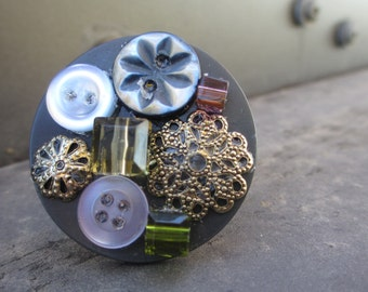 Steampunk Style Button Ring