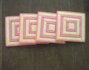 Pink and Yellow Coaster set of 4