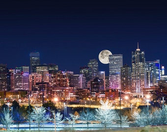 United States - Colorado - Denver skyline with full moon - SKU 0173