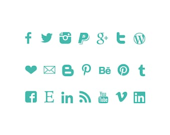 Social media Icons, instant download buttons, turquoise