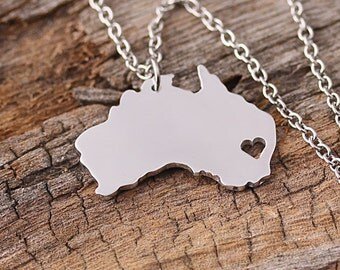 I heart Australia Necklace - Australia Pendant - Australia Map Charm - Australia Map necklace - Map Jewelry