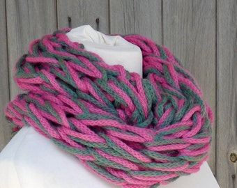 Merino Snood: bright pink & green